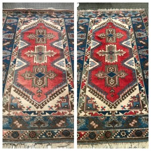 Cheshire Rug Cleaning Turkish Dosemealti Rug colour repair before & after